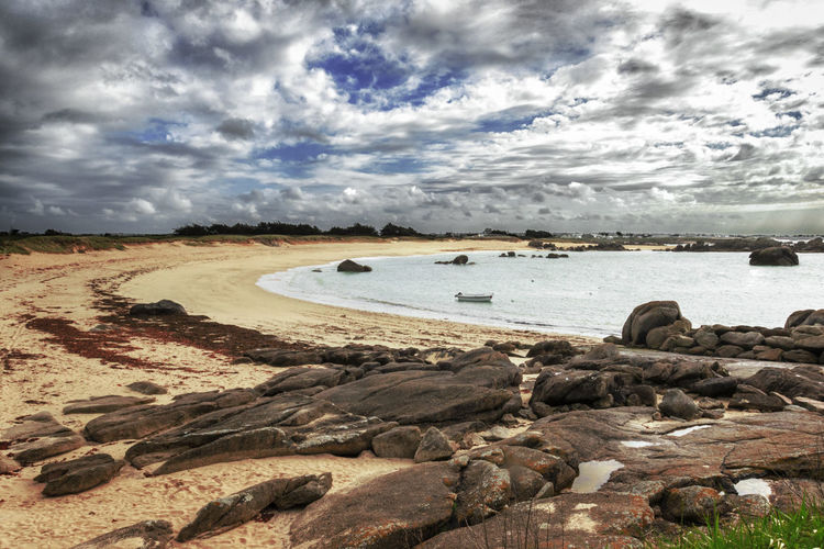 Plage Nodeven Rudoloc Beach Beauty In Nature Cloud - Sky Day Land Nature No People Non-urban Scene Outdoors Rock Rock - Object Sand Scenics - Nature Sea Sky Solid Tranquil Scene Tranquility Water