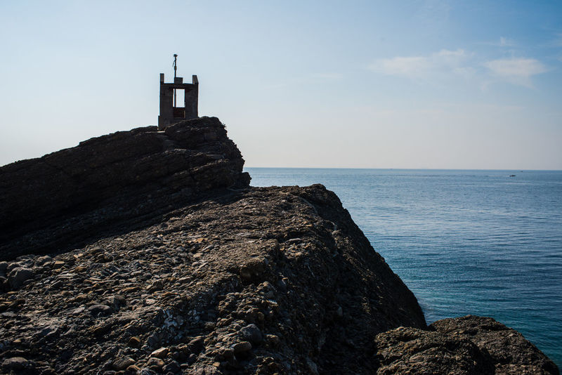 Hiking Nature Silhouette Traveling Adventure Battery Clouds Defences Fortification Horizon Over Water Liguria Outdoors Punta Chiappa Sea Sky Tourism Waterfront