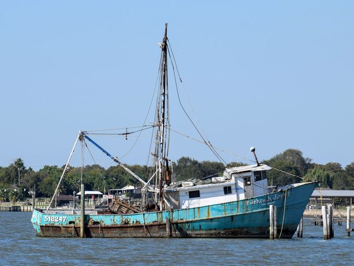 Blue Clear Sky Day Nature Nautical Vessel No People Outdoors Sea Shrimping Shrimps Sky Transportation Turquoise Water