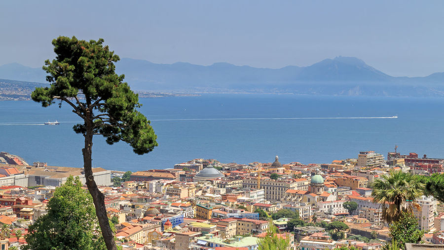 Partial view of the Gulf of Naples, from the hill of Vomero. At the center you can see the dome of the Basilica of San Francesco di Paola, and on the left side of the royal palace under restoration. In the background, ferries and hydrofoils ply with the Gulf islands. Architecture City Cityscape Gulf Naples, Italy No People Outdoors Residential Building Residential District Residential Structure Sky Tranquil Scene Viewpoint