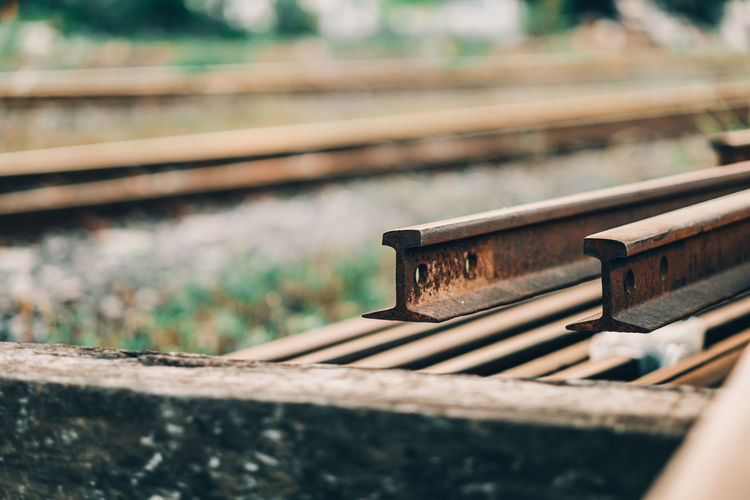 Close-up of abandoned railroad track