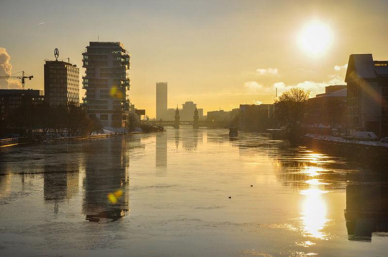 Berlin City Life Cold Days Ice Reflection Spree Sun Sunrise