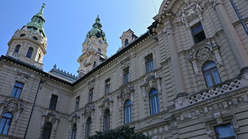Towers Architecture No Enhancement Győr Hungary Politics And Government Ornate Building Exterior Townhall Tower Clock Tower