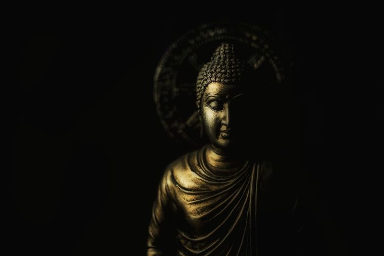 . . . b u d d h a . . . Be Calm-hearted Calm Peace Statue Sculpture Religion Joss Black Background Buddha Buddhism Low Key Place Of Worship Religion Statue Spirituality Gold Gold Colored Close-up