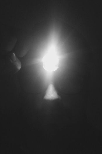 Illuminated Electricity  Lighting Equipment Glowing Indoors  Light Bulb Shadow Facial Features Nose Hand Headlamp Blackandwhite Night Close-up The Week On EyeEm