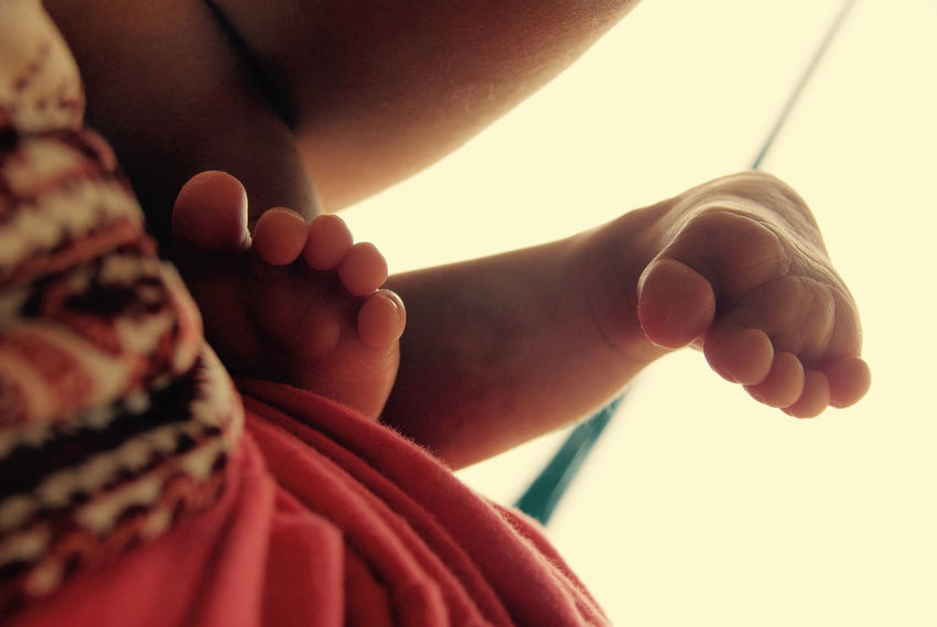 Baby Babyhood Bonding Close-up Day Human Body Part Human Foot Human Leg Innocence Low Section Newborn Real People Togetherness