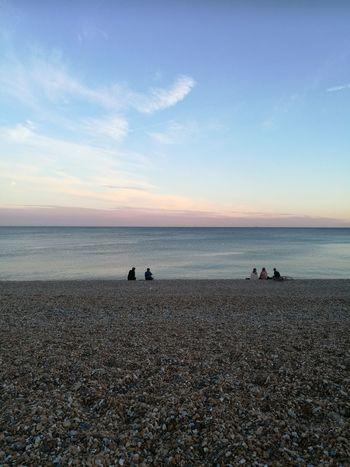 Equilibrium Pinksky Nofilter Seaview Seascape Ocean RedSky Relaxing Endofday Pebble Beach Brighton Beach Water Sea Beach Wave Sunset Sand Silhouette Sky