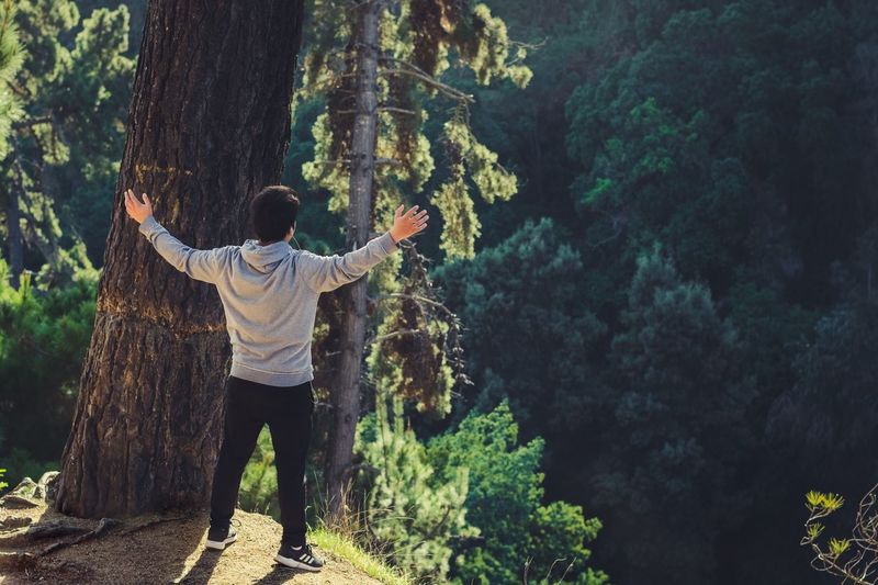 Rear view full length of man with arms outstretched standing at forest