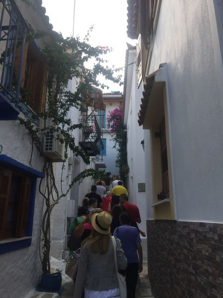 Through narrow streets of Skiathos town. Greece photos Skiathos Narrow Streets Built Structure Building Exterior Houses