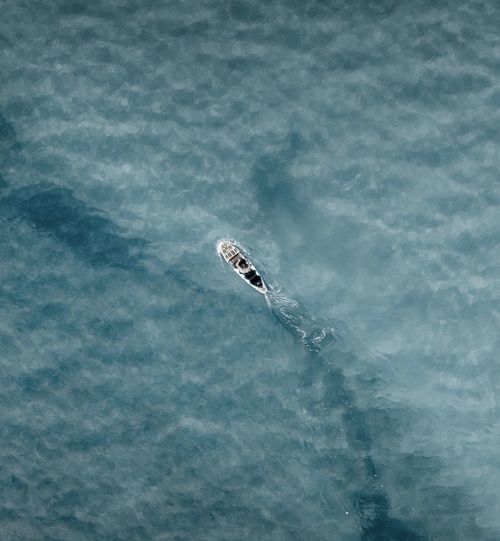 High angle view of sup in sea