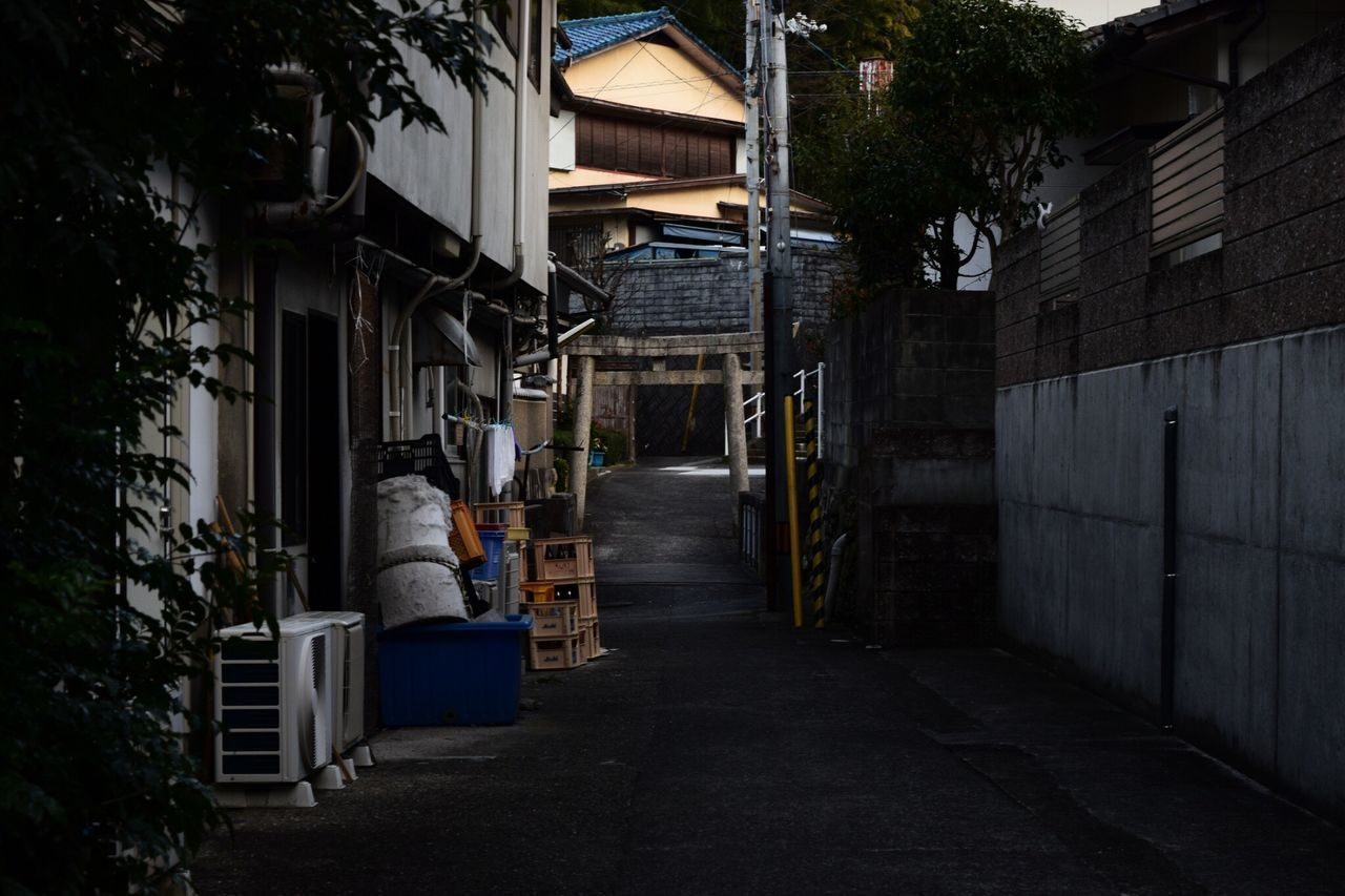 architecture, built structure, building exterior, building, street, direction, city, the way forward, plant, night, no people, tree, residential district, illuminated, transportation, nature, outdoors, footpath, empty, lighting equipment, alley, garage