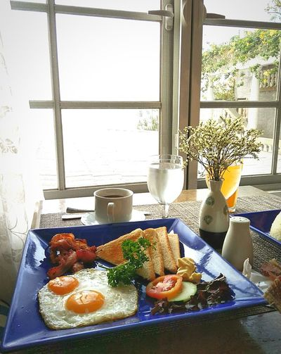 Breakfast Food And Drink Egg Bacons Coffee Bread Tomato Cucumber Plate Cup Window Table Healthy Eating Healthy Food Healthy Lifestyle Food And Drink Food Porn Cellphone Photography Foodphotography