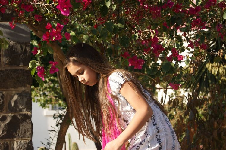 Israel Girl Sister Journey Trip Photo Portrait Sunlight Sunshine ☀ Summer Tree Flower One Person Long Hair Looking Down Nature
