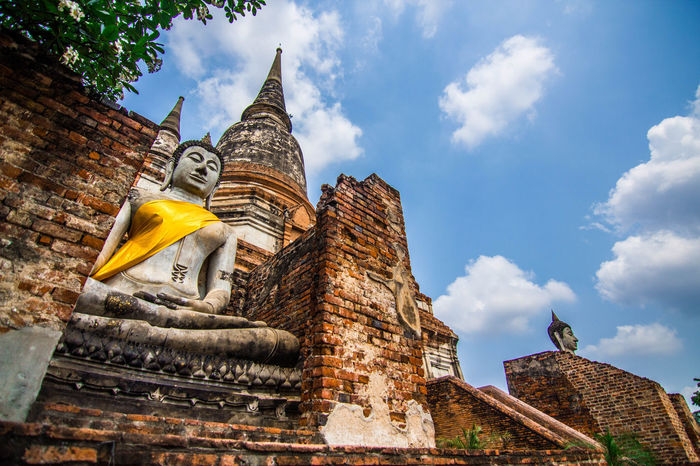 Before The Storm Architecture Religion History Pagoda Travel Destinations Sky Day Buddhist Lord Buddha Thailand Landscape Wat Yai Chai Mongkol Ancient Civilization Buddhist State Merit Making Arts Culture And Entertainment