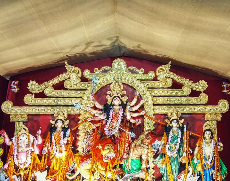 Gold Colored Indoors  Yellow No People Gold Close-up Representing Day Full Frame Durgapujo Durga Puja 2016 Pandals Goddess Goddess Durga EyeEm Diversity Art Is Everywhere BYOPaper!