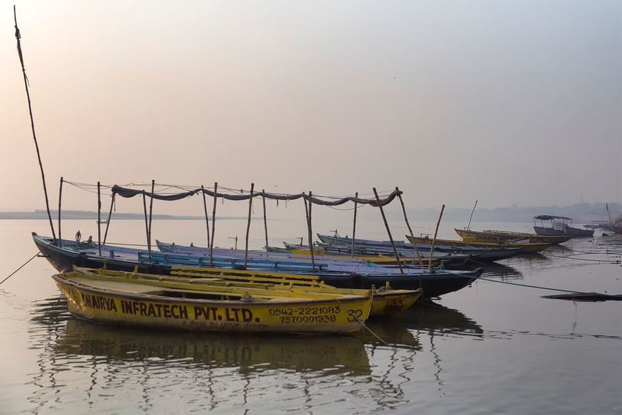 The Ganges river in Varanasi Uttar Pradesh. January 20, 2017. Nautical Vessel Water Mode Of Transport Boat Moored No People Waterfront Varanasi Check This Out Storytelling India Travel Documentary Incredible India Indian Travel Photography Ganges River River Tranquil Scene