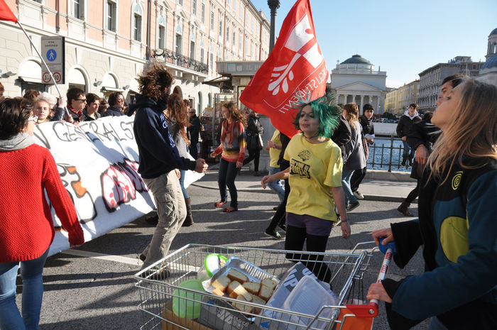 Students demonstrate in the streets of Trieste against austerity shouting slogans and waving banners Crowd Democracy Large Group Of People Outdoors People Slogan Street Photography Student Protest Trieste Triesteraccontatrieste Women