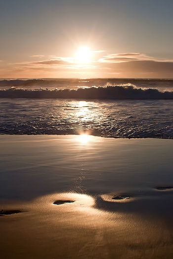 Narooma sunset. Footprints in the sand Sunset Sunshine ☀ Sandy Beach Footprints Water Low Tide Sea Sunset Beach Wave Summer Sunlight Sun Reflection Seascape Coast Coastal Feature Coastline Rocky Coastline Ocean Tide
