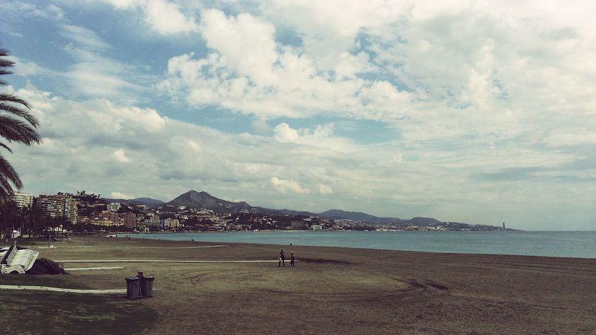 Malaga Sea Beach Sky And Clouds