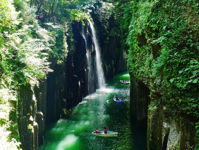 高千穂峡 River Japan Landscape Green Water Outdoors Waterfall River Tree Nature Day Travel Destinations Forest Vacations Green Color
