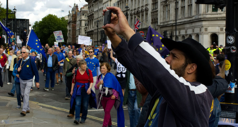 Brexit Protest Brexit Vote Protest Adult Adults Only Architecture Brexit Building Exterior Built Structure City Crowd Day Europe Holding Large Group Of People Men Outdoors People Protestor Real People Sky Togetherness Women Young Adult