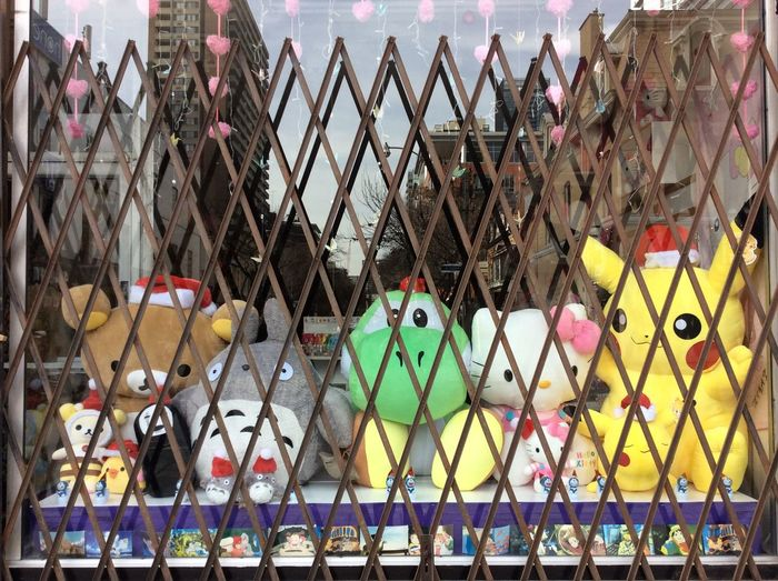 Caged Stuffed Toys Japanese characters Protective Shop Front Barrie Christmas Day Morning reflective glass front Toy Shop iPod My Point Of View trapped animals looking out street wards to escape Canada popular cartoon animal toys