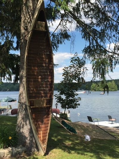 Lake Ariel, Wayne County, Pennsylvania Canoe Architecture Building Exterior Built Structure Day Growth Lake Mode Of Transportation Nature Nautical Vessel No People Outdoors Plant Sailboat Scenics - Nature Sky Transportation Tree Tree Trunk Water