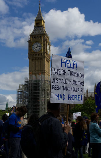 Brexit Protest Brexit Vote Protest Westminster Architecture Brexit Building Exterior Built Structure City Clock Tower Cloud - Sky Crowd Day Europe Large Group Of People Lifestyles Men Outdoors Parliament People Protestor Real People Sky Text Women