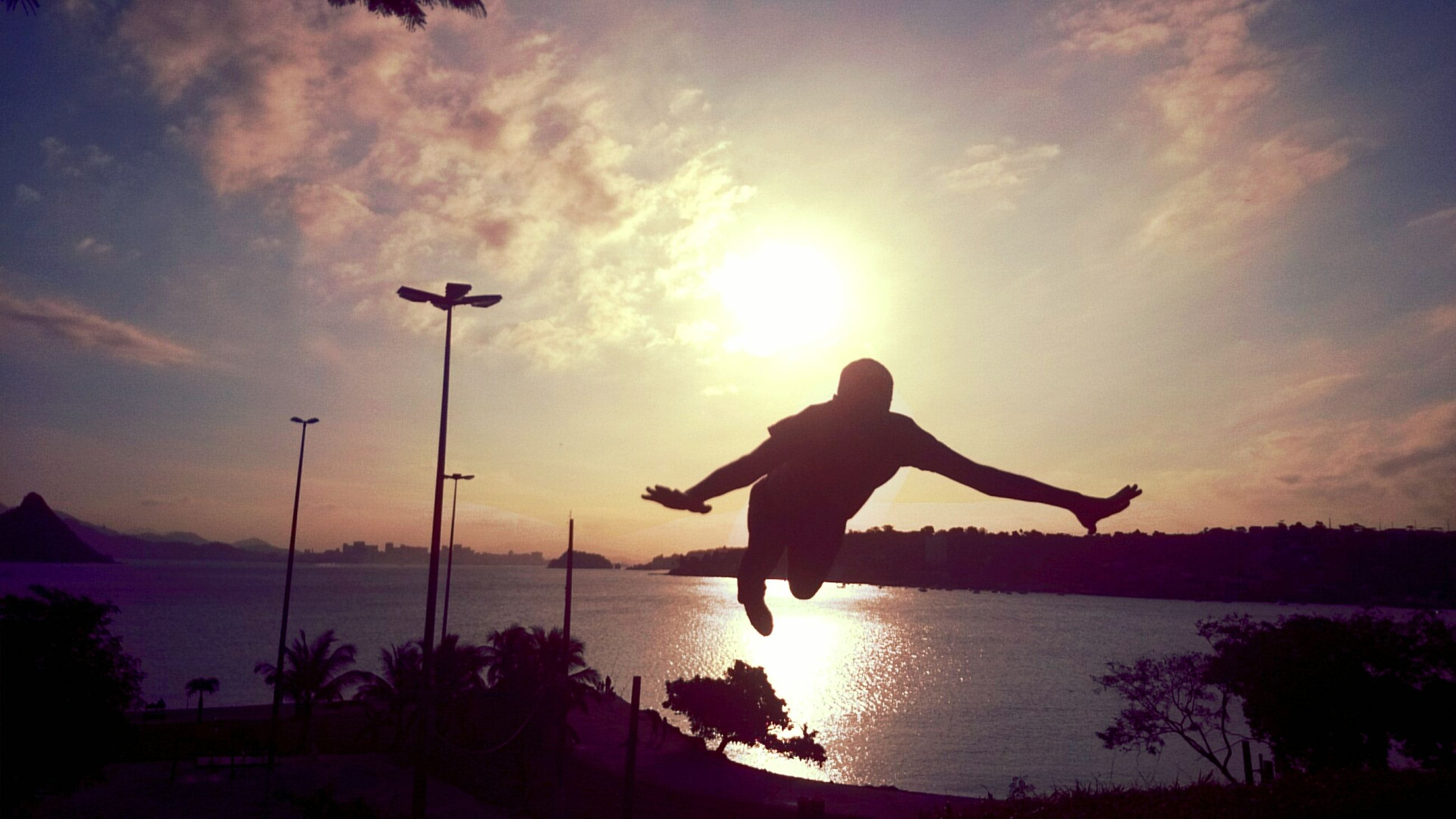 silhouette, sunset, sky, one animal, one person, animal themes, water, full length, bird, sun, cloud - sky, cloud, sea, nature, beauty in nature, animals in the wild, spread wings, mid-air, sunlight, wildlife
