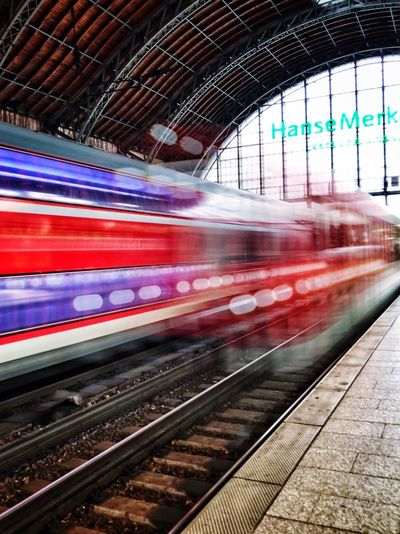 Blurred Motion Transportation Speed Public Transportation Motion Train - Vehicle Subway Train Rail Transportation Mode Of Transport Railroad Station Platform Railroad Track Railroad Station Travel Red Indoors  Commuter City Day People