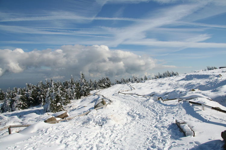 Snow covered mountain against sky