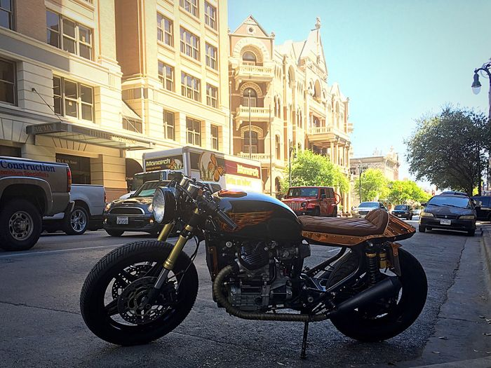 Honda Cafe Racer Motorcycles Motorcycle Custom Bikes Copper  One Of A Kind  Street City Roadside Stationary Parked Austin Texas Texas