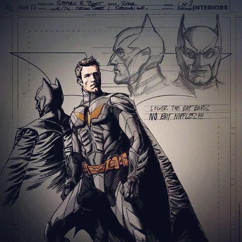 """Arte conceitual que """"vazou"""" p o uniforme do Batman no próximo Man of Steel...bem similar ao Dark knight! Batman Manofstell Superman Benaffleck conceptart"""