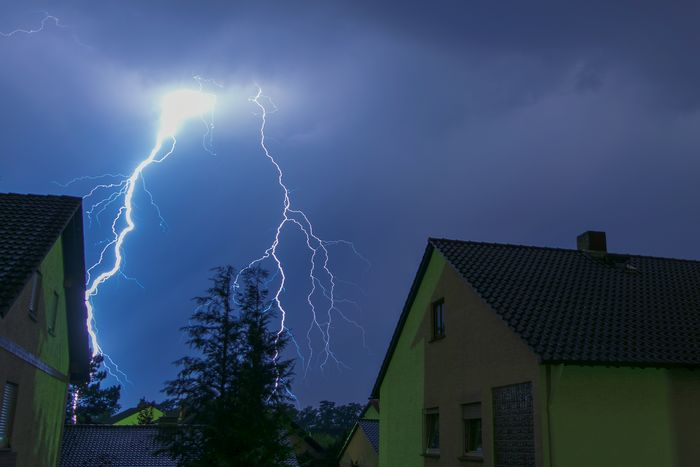 Building Exterior House Night Thunderstorm Outdoors No People Power In Nature Lightning Sky Nature Nikon D40 Blue Blau Weiterstadt Hesse Storm Weather Blitz Gewitter Haus Germany Darmstadt Lights Dark