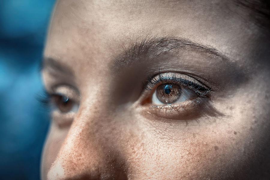 horizon Futuristic Human Eye Portrait Eyelash Beautiful Woman Human Face Beauty Looking At Camera Blue Eyes Concentration