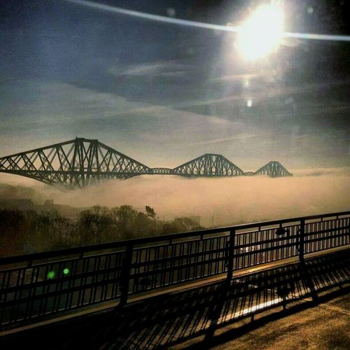 Fog on the river view of forth Rail bridge from forth road bridge amazing Hanging Out Taking Photos Check This Out Foggy Foggy Morning Foggy Day Foggy Weather Bridges Bridgeporn Bridge View ForthRailBridge Crazy Moments Outdoor Photography Outwalking Engineeringmarvel Iconic Ironbridge  Irongiant Sunshine Skyporn Blue Sky Sunshine ☀ Good Morning Breathtaking