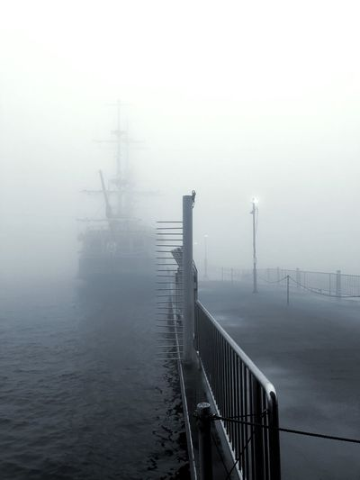 Foggy pier Japan Fog Water Sky Nature Railing No People Day Lake