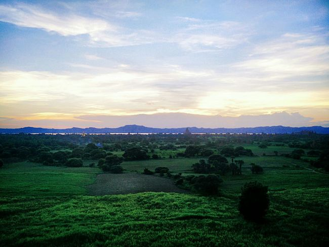 Buddhist Temple Myanmar Sunset Landscape