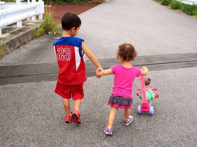Nina and Koh go for a walk.