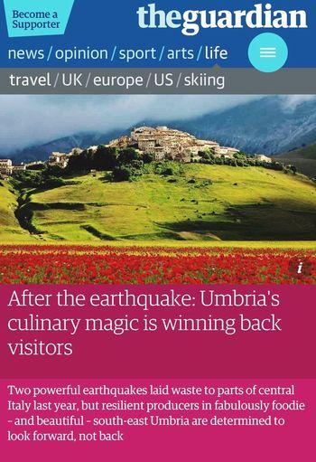 Shamelessly self promoting 😂 Newspaper Travel Destination Travel Writing Theguardian Umbria Umbrian Landscape