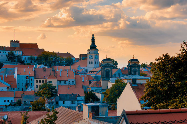 Built Structure Architecture Building Exterior Building Cloud - Sky Sky Place Of Worship City Residential District Religion Roof Nature No People Belief Tree Spirituality Sunset Outdoors Spire  Mikulov Czech Republic Cityscape
