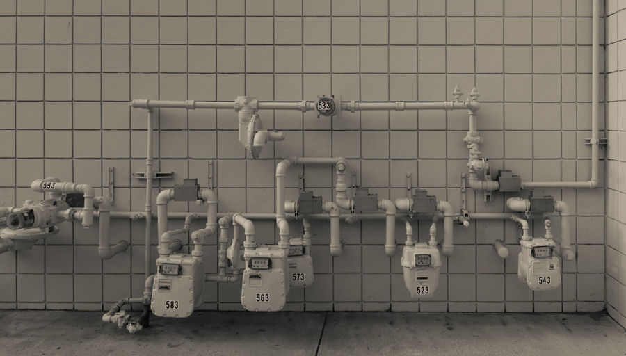 Gas pipes on wall