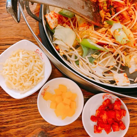 Food Food And Drink Vegetable Ready-to-eat Bowl Healthy Eating Freshness Plate Indoors  Serving Size No People Rice - Food Staple Indulgence Chopped Meat Bean Sprout Close-up Fried Rice Egg Yolk Minced Korea