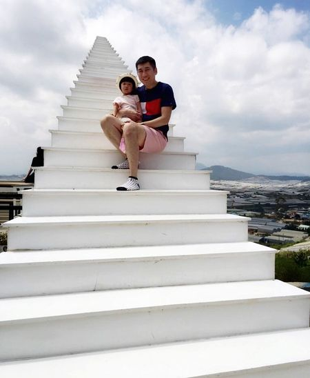 On Vacation Staircase Cloud - Sky Full Length Architecture Steps And Staircases Sky My Best Photo Togetherness Two People Leisure Activity Real People Men Casual Clothing People Adult Lifestyles Built Structure Day Young Men Low Angle View