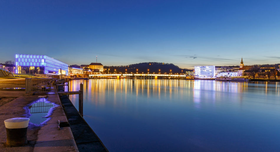 Night Panorama of Linz at the Danube river Alt-Urfahr Blue Hour Donau Donauschifffahrt Linz Panorama Architecture Blaue Stunde Bridge Building Exterior Built Structure City Cityscape Clear Sky Illuminated Linz/Austria Nibelungenbrücke Night Nightscape No People Outdoors Reflection River Cruise Sky Water