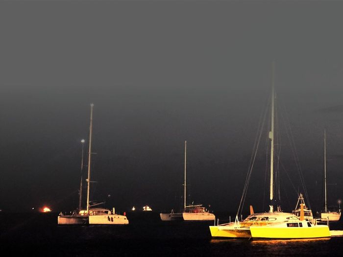 Boats Dock Sea Night
