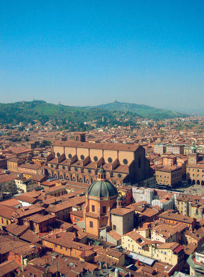View from the Asinelli Tower towards the Piazza Maggiore and the Basilica di San Petronio, Bologna, Italy Architecture Asinelli Basilica Di San Petronio Bologna Building Exterior Built Structure City Cityscape Clear Sky Day Dome Italia Italy No People Outdoors Piazza Maggiore