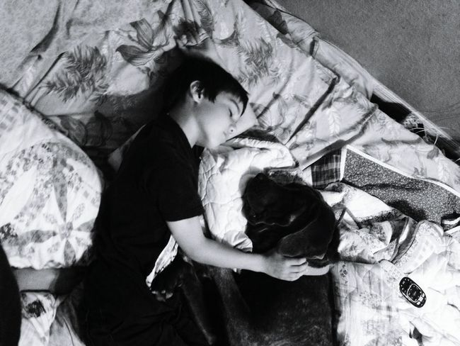 Sleeping boy and his best friend. Sleeping Sleeping Dog Relaxing Dog❤ Puppy❤ Dog Sleeping  Sleeping Boy Black & White