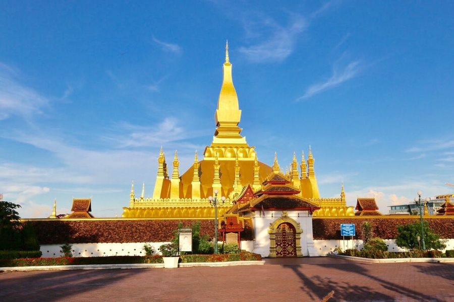 Laos, Vientiane, Pha That Luang Buddhism Stupa Built Structure Architecture Religion Belief Building Exterior Building Place Of Worship Gold Colored Travel Destinations