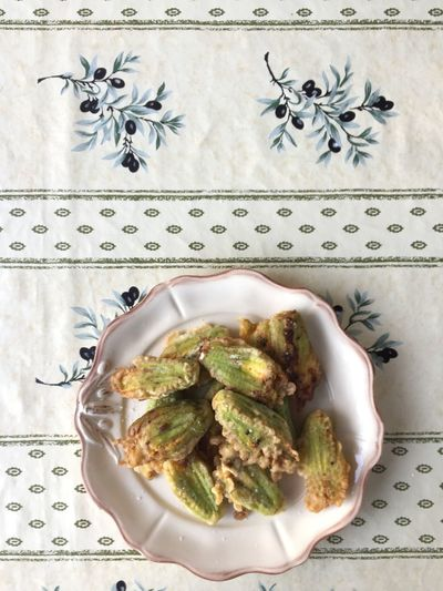 Ricotta stuffed squash blossoms. Zucchini Close-up Day Food Food And Drink Freshness Healthy Eating Indoors  Indulgence No People Plate Ready-to-eat Ricotta Serving Size Squash Squash Blossoms Summer Table Tablecloth Zucchini Flower